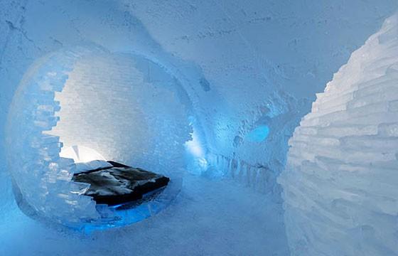 Vista del Hotel de hielo en Suecia
